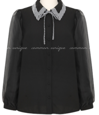 ORGANZA SLEEVE CHECK POINT BLOUSE