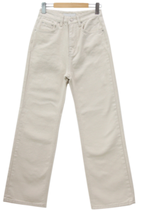 Creamy high wide long cotton pants