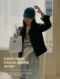 Check lining collar neck leather jacket