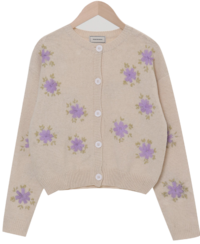 Vintage flower embroidery cardigan