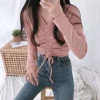 Ribbed ribbon shirred long-sleeved T-shirt