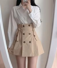 Milano collar shirt + trench skirt set