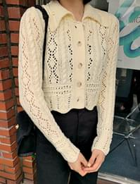 Wave knit crop cardigan