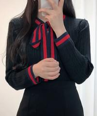 Ribbon Color Twisted Knit Cardigan