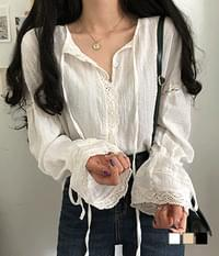 Regina sleeve ruched lace blouse