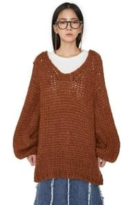Hand V Neck Over Knit