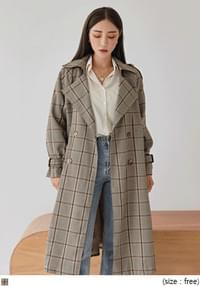 PONTI CHECK DOUBLE TRENCH COAT