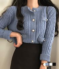 Yoni pearl-button tweed cardigan
