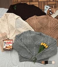 Hand-knitted pretzel loose fit cardigan