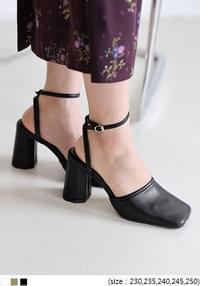 Square Toe Ankle Strap Block Heels