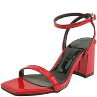 Enamel Square Toe Strap Sandal Red