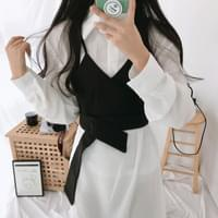 Button Bustier Shirt Dress Set
