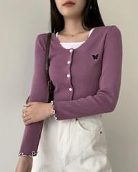 Butterfly wave square-neck cropped cardigan