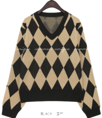 RUSSO DIAMOND V NECK KNIT