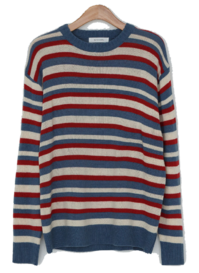 Loose Fit Drop Shoulder Stripe Knit