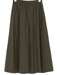 Easy Cotton Flare Banding Long Skirt