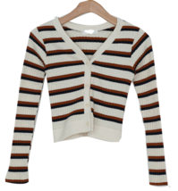 Striped semi-cropped ribbed cardigan