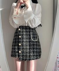 Gold tweed unfooted skirt