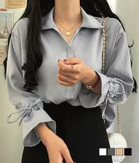 Satin-sleeve ruched collar blouse