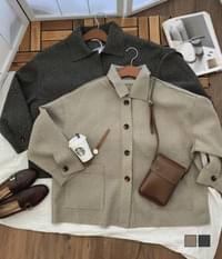 Mocha Burn Collar Wool Jacket