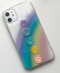 Rainbow Smile Button Transparent Jelly iPhone Case 手機殼