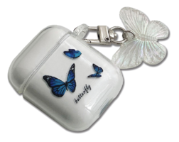Blue Butterfly AirPod Case Keyring Set