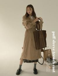 Monica puff sleeve trench coat