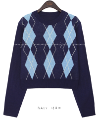 Round Neck Argyle Knit Top