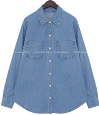 Pocketed Button-Up Denim Shirt