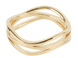 Twin wave gold ring