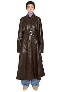 Brain Shine Leather Trench Coat