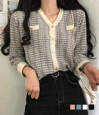 Rudy tweed gold button cardigan