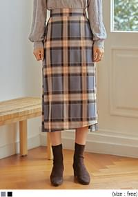 RUNNY CHECK SLIT LONG SKIRT