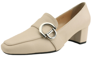 Middle heel buckle strap loafers light beige