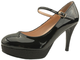 Pearl Heirloom Strap Enamel High Heels Black