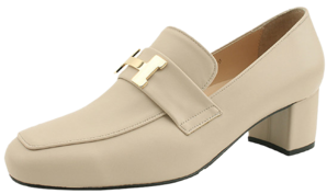 Luxury Whole Heel Loafers Middle Heel Beige