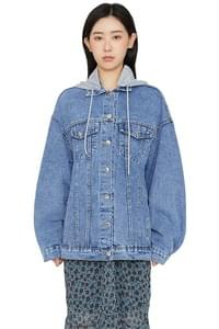 Hooded over denim jacket