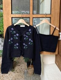 ★10,000 won discount★ Lily Flower Cardigan SET ♥ Flower Embroidery Cardigan + Knitted Nash Set Product :)