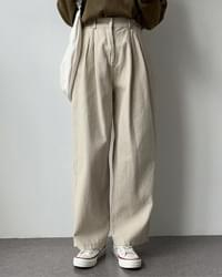 Chief Buckle Pintuck Cotton Wide Pants
