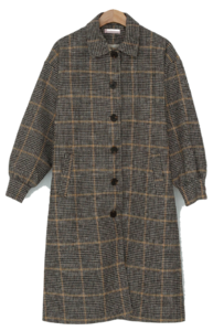 Solid quilted lining wool check coat