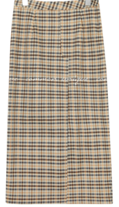 ZENTI CHECK SLIT LONG SKIRT