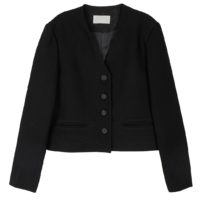 Collarless single short jacket