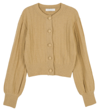 Spring button crew neck cardigan