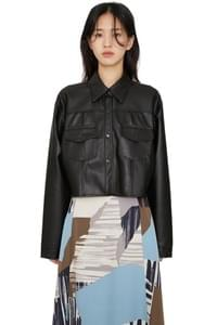 Moz cropped leather jacket
