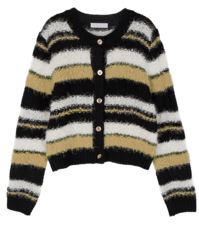 Bird multi-pattern crew neck cardigan