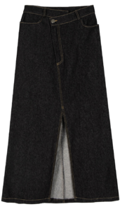 Cord unfoot denim maxi skirt