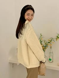 Half Cable Collar Wool Cardigan