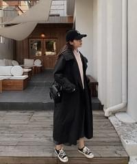 Long Hooded Trench Coat-3color
