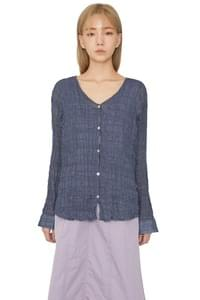 Early crease v-neck blouse