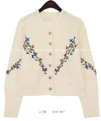 Embroidered Floral Trim Knit Cardigan